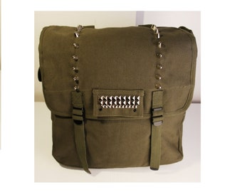 Large Spiked and Studded Army Canvas Backpack - Assorted Colors