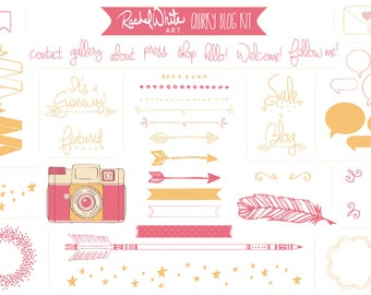 Quirky Blog Kit in Pink, AI EPS PNG files