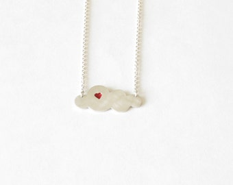 Handmade cloud necklace in sterling silver-Silver and resin cloud pendant-Everyday jewelry- Gift for her-I love the rain