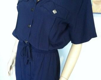 Vintage 80s Saint Germain Paris Jumpsuit Medium Large Pantsuit Bust 40 Waist 34 Acetate Rayon Paris Elastic Waist Tie Front