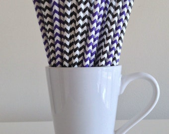 Purple and Black Chevron Paper Straws Party Supplies Party Decor Bar Cart Cake Pop Sticks Mason Jar Straws  Party Graduation