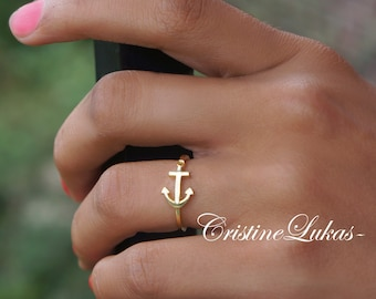 Sideways Anchor Ring in Gold or Sterling Silver - Sideways Anchor Ring With Cross - Horizontal Anchor Ring - Yellow Gold or Rose Gold