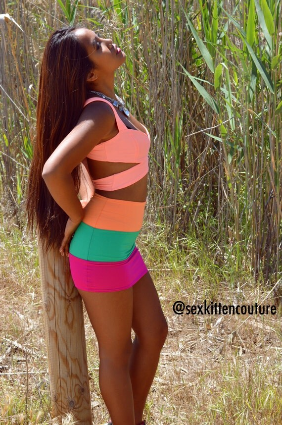 """50% CLEARANCE Sale! """"Cataleya"""" - 3 Tone Neon Bodycon Skirt by Sex Kitten Couture"""