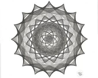 "Original Art, 20"" x 20"" Black and White Circle Geometric Art, India Ink Drawing, Circle Shape Line Drawing 20"" x 20"""