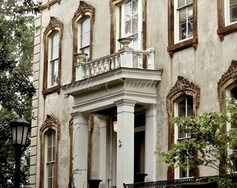 "Window Art, Savannah Architectural Photo, Noble Hardee Mansion, Monterrey Square, Window Photograph, Beige Art Print- ""Southern Elegance"""