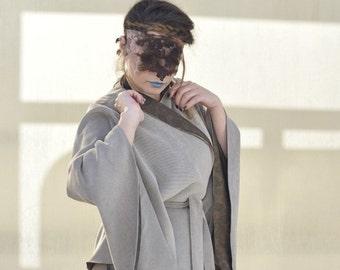 Elegant kimono sleeves,  wrap, high collar CAPE