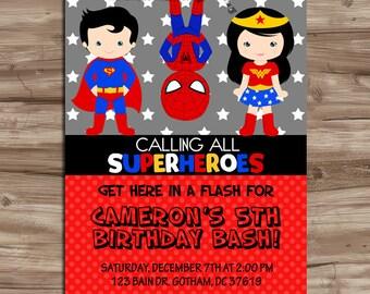 SUPERHERO Invitation Superhero Invitation Superhero Invitation SuperHero Invite Invitation Superheroes Birthday, Digital Printable JPG File