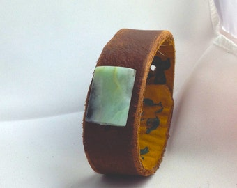 leather wrist cuff with amazonite stone