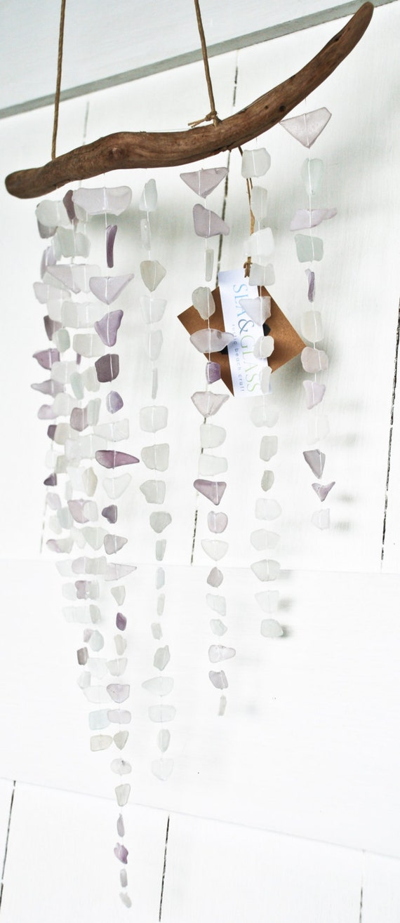 Lavender sea glass mobile wall hanging rustic decor - Hemp rope craft ideas an authentic rustic feel ...