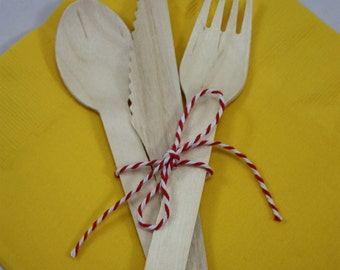 36 Wooden Utensils - Forks - Spoons - Knives - Wedding Supplies - Baby shower  - Birthday Party - Wood Forks - Wood Knives - Wood Spoons