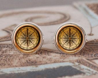 Compass cufflinks, Cuff Links, compass, men, cufflinks, wedding cufflinks, vintage style