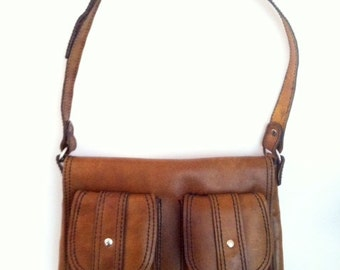 1970's Brown Brazilian Genuine Leather Courier Mail Bag Paperboy Tiny Small Old Vintage Messenger Book Tote Unisex Handcrafted - Handmade