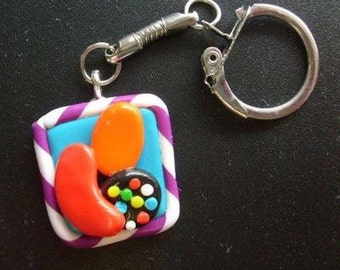 Candy Crush Saga Inspired Keyring Handmade.