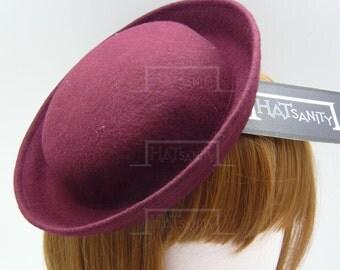 TRENDY Fashion Plain Wool Felt Mini Bowler Hat Fascinator - Burgundy