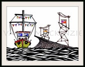 Art Print, Surreal Illustration of Valparaiso, Color Boat, sea, elevator