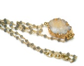 Druzy Necklace Large Smoky Yellow White Crystals Handmade Labradorite Gold Filled Chain Drusy Valentines Gift