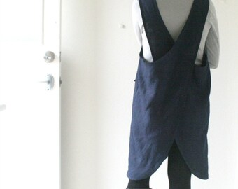LINEN PINAFORE DRESS - mabel / navy blue / criss cross / linen dress / women linen clothing / smock / apron / made in australia / pamelatang