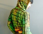 My Wandering Days - iheartfink Handmade Hand Printed Womens Green Wearable Art Plaid Print Jersey Hood Dress