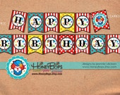 Clown Happy Birthday Banner Instant Download PDF file