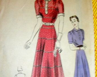 """Vintage 1930's VOGUE Pattern 7971 -  """"Easy-to-make"""" Ladies' Pretty  Dress Frock with Six Gored Skirt  - Bust 32"""