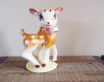 Large 1960s Ceramic Big Eyed Baby Deer Figure Lampbase
