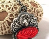 Red Vintage Glass, Sterling, Deer and Filigree Necklace - Yesteryear Necklace