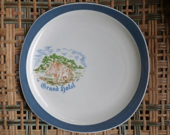 French Country Dinner Plates, Hunt Scene, Wild  Boar Pig, Teal on White, Restaurant Grand Hotel, Set of 11