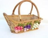 Vintage Wine Basket with Wood Handles / Wicker Basket Wine Bottle Holder  -  Raffia Grapes Burlap Serving Tray