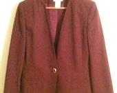 1980's Burgundy Suit Jacket Blazer by Worthington Essentials