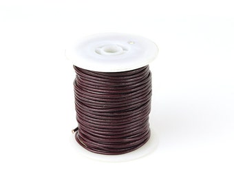 2mm Leather Cord, Maroon Genuine Leather Cord, Round Leather Cord, Pkg of 30 ft., D0F6.MA33.L30F