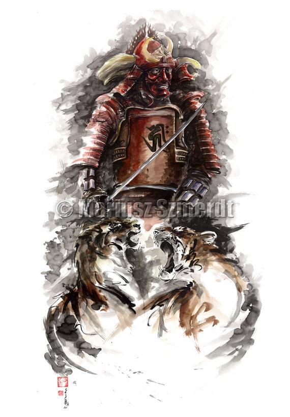 warrior samurai painting large japanese original painting