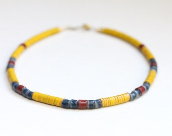 boho jewelry bohemian vinyl african necklace / colorful african jewelry / tribal chic vulcanite necklace / yellow blue red ghana