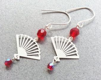 White Fan Art Deco Earrings with Red Crystals, Long Dangle Earrings, Fan Jewelry, Geometric, Triangle, Asian Jewelry