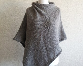 jeacara - Néle hellgrau - Poncho - Wolle