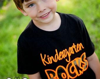 Kindergarten Rocks - Any Grade! - Boys Back to School Camo Applique Black Shirt