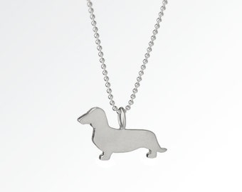 SALE! Love My Dachshund Sterling Silver Silhouette Pendant Necklace - Doxie Lover Jewelry - For Pet People