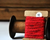 Chunky Linen Twine {10.0m} Red Rustic Holiday Waxed String Gift Wrap Winter DIY Supplies Christmas in July - seen Front Page Etsy