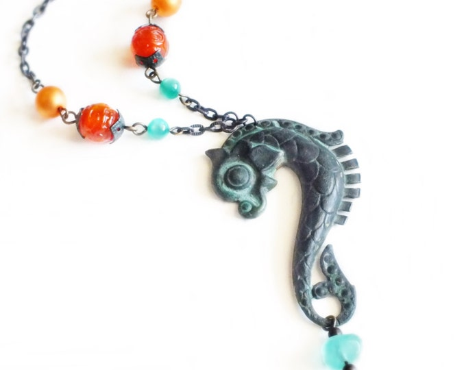 Large Seahorse Necklace Vintage Verdigris Beaded Sea Horse Pendant Green Orange Seahorse Jewelry