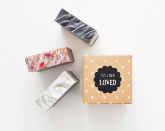 Say It With Soap Gift Set - You are Loved, Hello Gorgeous, Nice to Smell You, Thinking of You - 3 Soaps with a sweet message