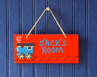 TRAIN Room Sign, Red. Hand Personalized. Wall Decor Boy's Room. Wall Art. Kid's Door Sign. Train Decor. Boy's Name Sign. Kid's Name Plaque.