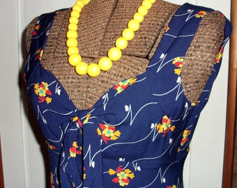 Vintage Blue Floral Maxi Dress, Red Yellow Flowers, '60s, Pin up Style, Halter, Bobbie Brooks, small