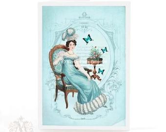 Jane Austen card, Pride and Prejudice, Emma, Regency, blue, birthday card, Regency funiture, blank card, vintage card, card for women