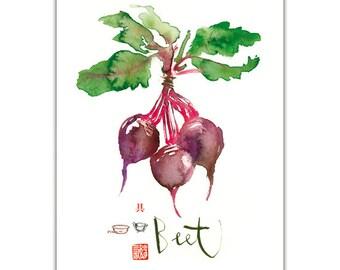 Kitchen decor, Purple beet poster, Vegetable print, Kitchen wall art, Food art poster, Watercolor botanical painting, Home decor, 8X10 print