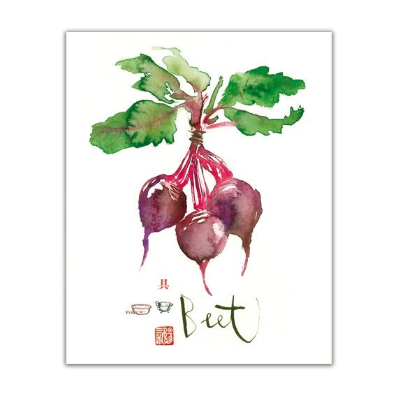 Kitchen Art Vegetables Print Botanicals Kitchen Art: Kitchen Decor Purple Beet Poster Vegetable Print Kitchen