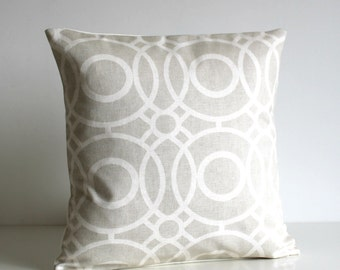 Accent Pillow Cover, Circle Cushion Cover, Circle Pillow Sham - Trellis Circles Neutral