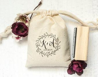 Custom Rubber Stamp, Monogram Stamp, Hand Drawn Floral Design, DIY Wedding Gifts, Tea Favors, Save The Dates. Custom Stamp 2x2