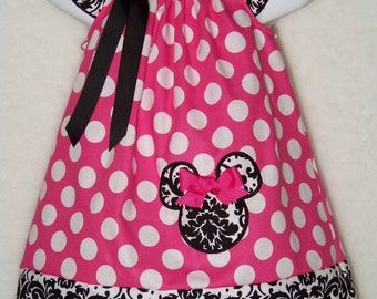 Minnie Mouse Dress / Demask + Pink & White Polka Dot / Disney Vacation / Mickey / Infant / Baby Girl/ Toddler/ Kids/Custom Boutique Clothing