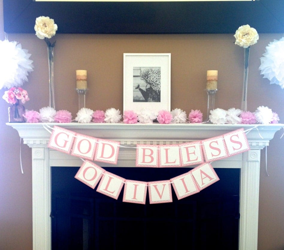 Girl Baptism Banner Baptism Decorations Custom By Twochihuahuas