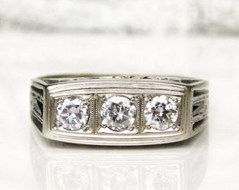 Antique Engagement Ring 0.60ctw Old European Cut Diamond Sapphire Wedding Ring 14K White Gold Filigree Art Deco Men's Diamond Ring/Appraisal