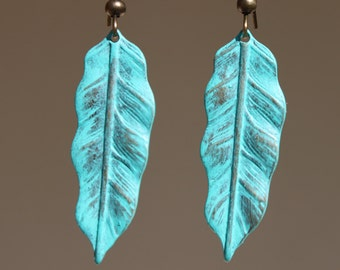 Turquoise Metal Earrings Leaf Patina Earrings Dangle Boho earrings Jewelry Earrings Fall earrings Gift For Her Gift Ideas